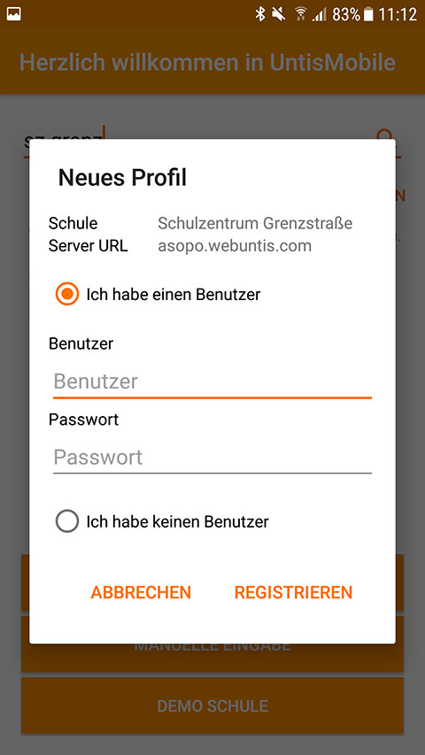 Screenshot UntisMobile Login