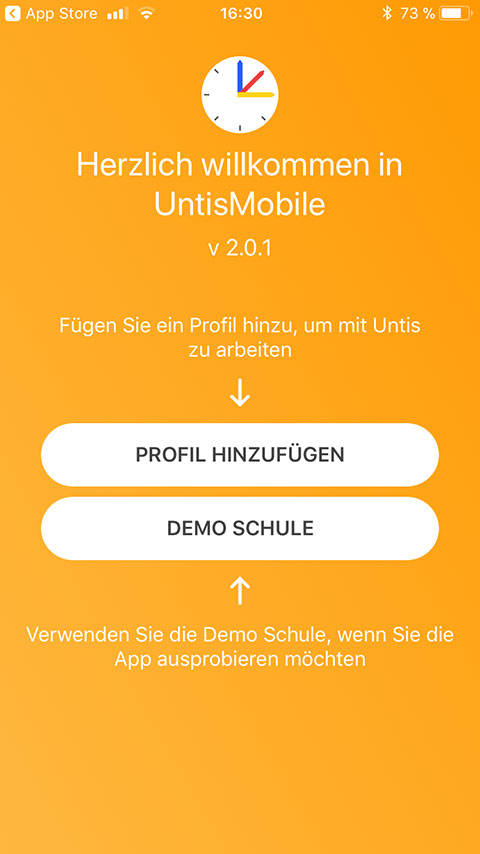 Screenshot UntisMobile Start